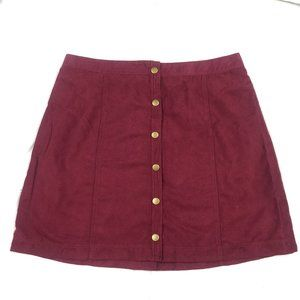 Hollister Maroon Button-Front Suede Skirt